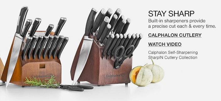 Stay Sharp, Built-in sharpeners provide a precise cut each and every time, Calphalon Cutlery, Watch Video