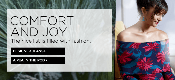 Comfort And Joy, The nice list is filled with fashion, Designer Jeans, a Pea in The Pod
