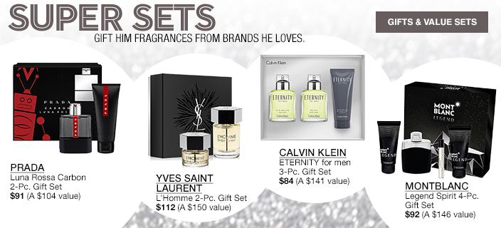 Super Sets Gift Him Fragrances from Brands He Loves, Prada, Yves Saint Lurent, Calvin Klein, Montblance, Gifts and Value Sets