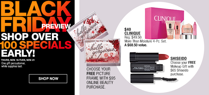 Black Friday Preview, Shop Over 100 Specials Early! Shop now, $40 Clinique, Shiseido