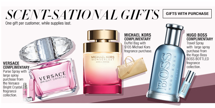 Scent-Sational Gifts, Gifts with Purchase, Versace, Michael Kors, Hogo Boss