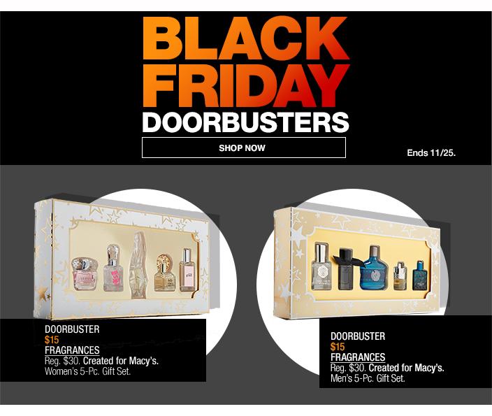 Black Friday Doorbusters, Shop now, Ends 1125, Doorbuster $15 Fragrances