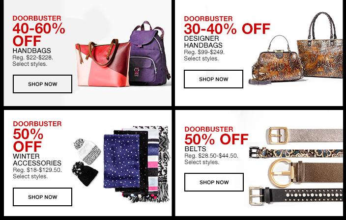 Doorbusters, 40-60 percent Off, Handbags, Shop now, Doorbusters, 30-40 percent Off, Designer Handbags, Shop now, Doorbusters, 40 percent percent off, Doorbusters, 50 percent Off, Belts, Shop now
