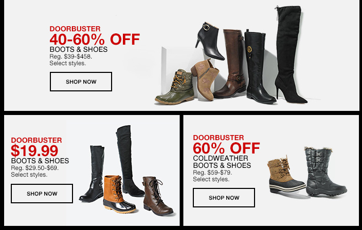 Doorbusters, 40-60 percent Off, Boots, Shoes, Shop now, Doorbuster $19.99, Boots and Shoes, Shop now, Doorbuster 60 percent Off, Coldweather Boots and Shoes, Shop now