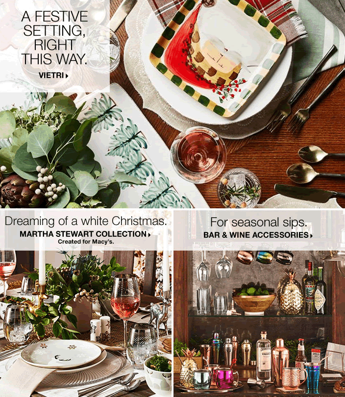 A Festive Setting Right This way, Vietri, Dreaming of a white Christmas, Martha Stewart Collection Created for Macy's, For Seasonal sips Bar and Wine Accessories