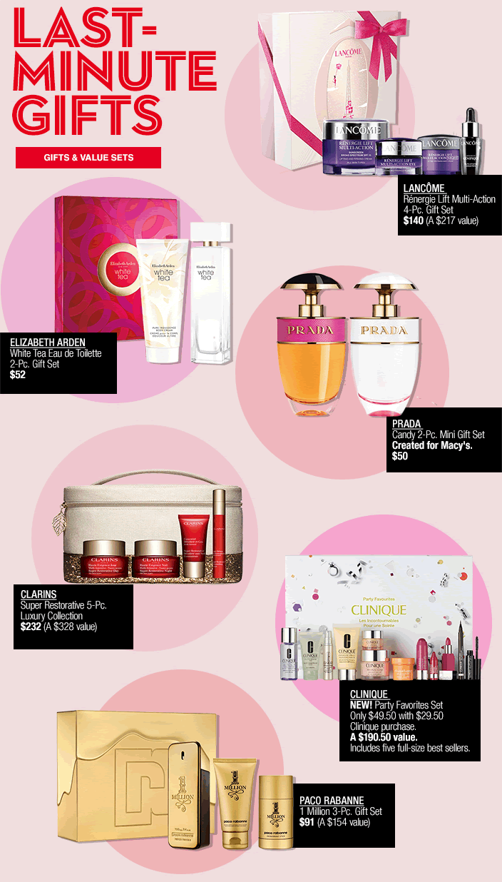 Last-Minute Gifts, Gifts and Value Sets, Lacome, Elizabeth Arden, Prada, Clarins, Clinique, Paco Rabanne