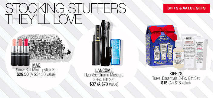 Stocking Stuffers They'll Love, Gifts and Value Sets, MAC, Lancome, Kiehl's