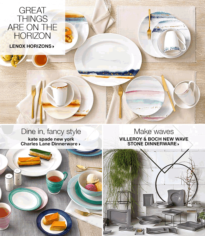 Great Things Are on The Horizon, Lenox Horizons, Dine in, fancy style, kate spade new york Charles Lane Dinnerware, Make Waves, Villeroy and Boch New Wave Stone Dinnerware