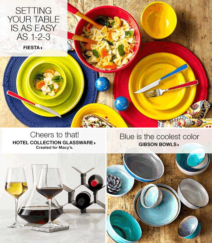 Setting Your Table is as Easy as 1-2-3, Fiesta, Cheers to that! Hotel Collection Glassware, Created for Macy's, Blue is the coolest color, Gibson Bowls