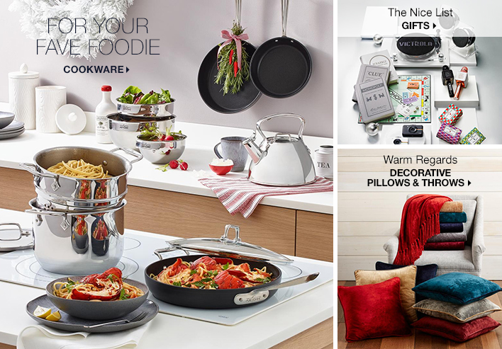 For Your Fave Foodie Cookware, The Nice List Gifts, Warm Regards Decorative Pillows and Throws