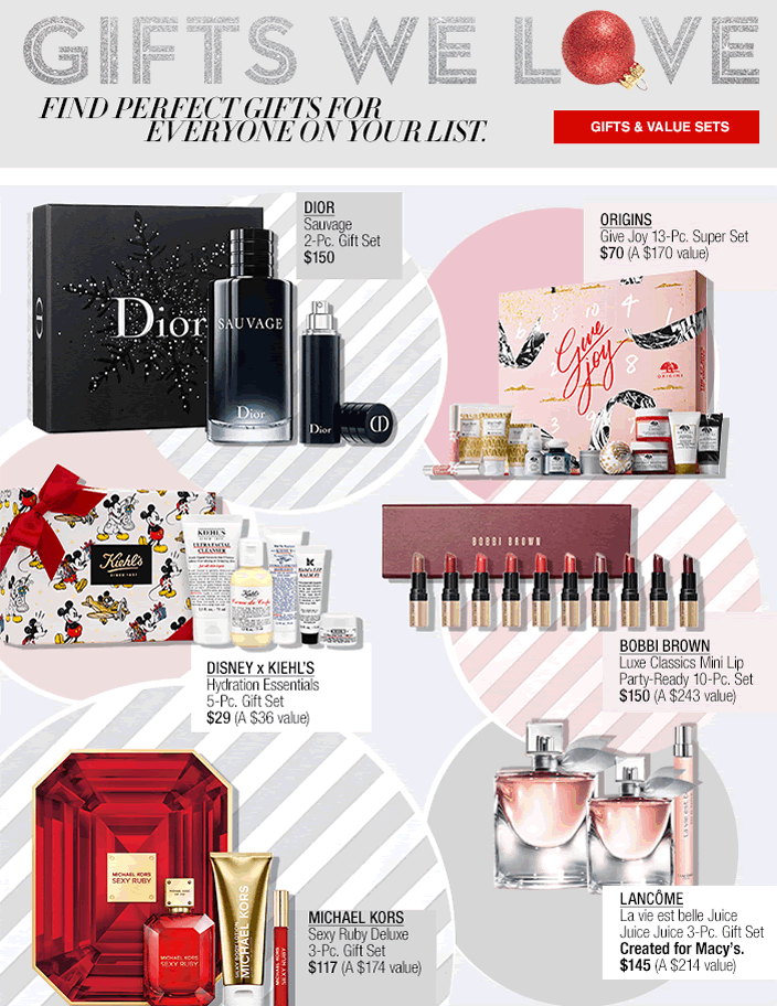 Gifts We Love, Find Perfect Gifts for Everyone on Your List, Gifts and Value Sets, Dior, Origins, Disney x Kiehl's, Bobbi Brown, Michael Kors, Lancome