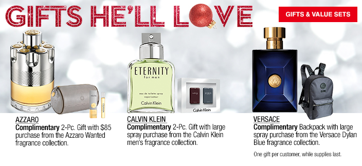 Gifts He'll Love, Azzaro, Calvin Klein, Versace, Gifts and Value Sets