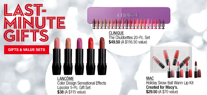 Last-Minute Gifts, Clinque, Lancome, MAC, Gifts and Value Sets