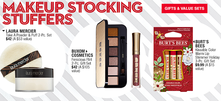 Makeup Stocking Stuffers, Laura Mercier, Buxom Cosmetics, Burt's Bees, Gifts and Value Sets