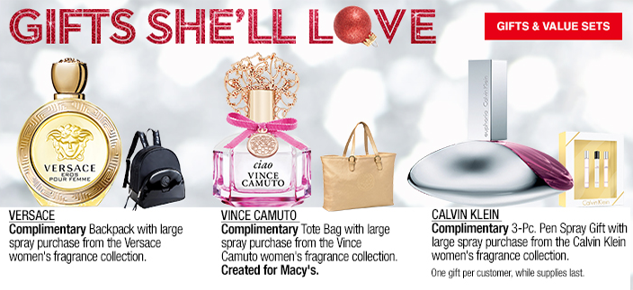 Gifts She'll Love, Gifts and Value Sets, Versace, Vince Camuto, Calvin Klein