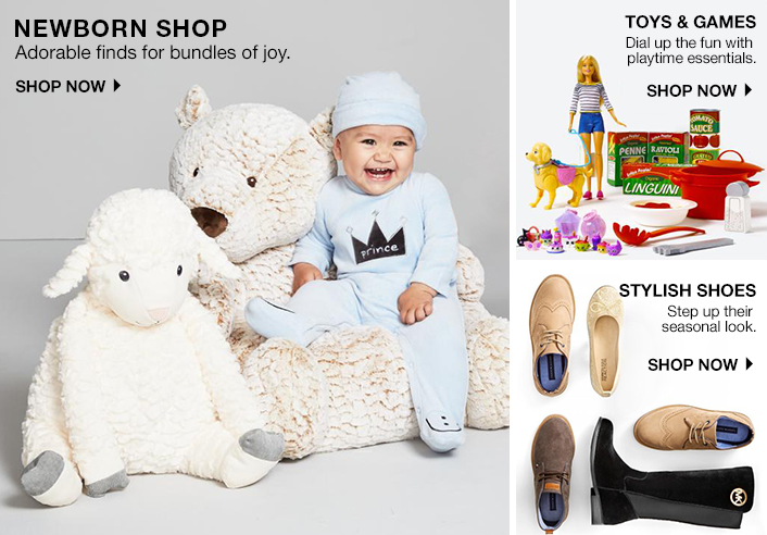 Newborn Shop, Shop Now, Toys and Games, Shop Now, Stylish Shoes, Shop Now
