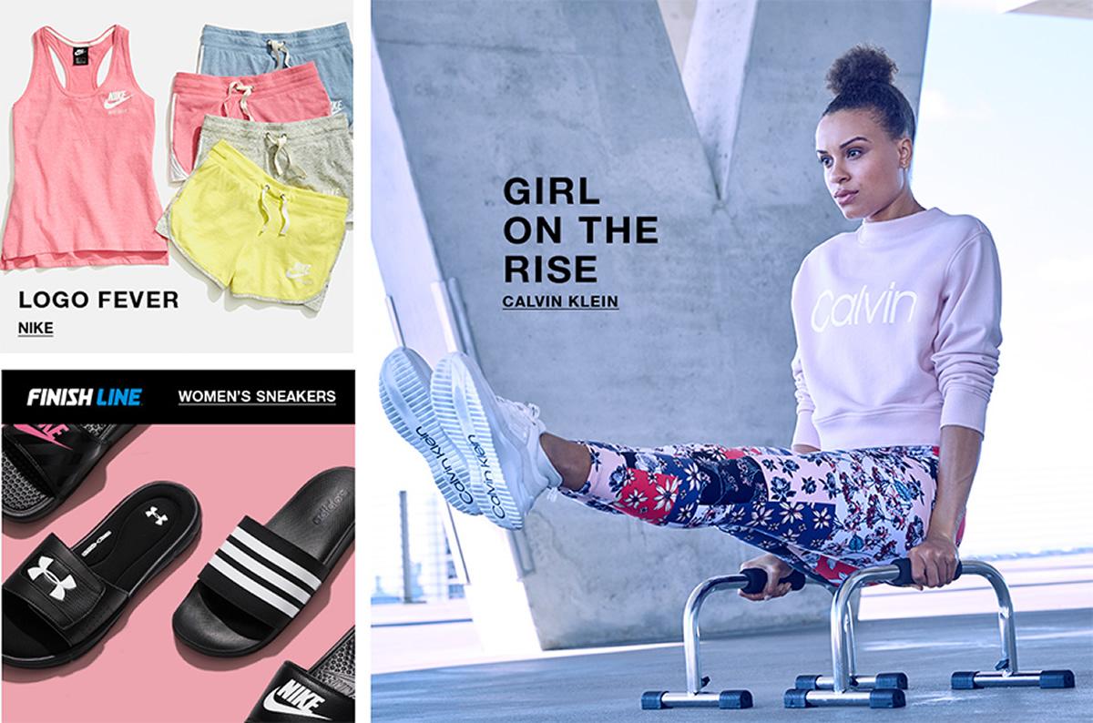 Logo Fever, Nike, Finish Line, Women's Sneakers, Girl on The Rise, Calvin Klein