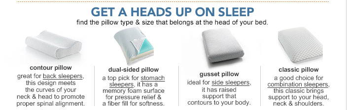 Get a heads up on sleep. Find the pillow type and size that belongs at the head of your bed. Contour pillow. Great for back sleepers, this design meets the curves of your neck and head to promote proper spinal alignment. Dual sided pillow. A top pick for stomach sleepers, it has a memory foam surface for pressure relief and a fiber fill for softness. Gusset pillow. Ideal for side sleepers, it has raised support that contours to your body. Classic pillow. A good choice for combination sleepers, this classic brings support to your head, neck and shoulders.