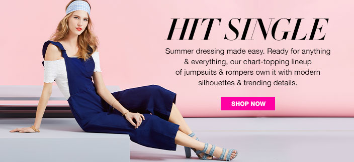 HIT SINGLE. Summer dresses made easy. Ready for anything and everything, our chart-topping lineup of jumpsuits and rompers own it with modern silhouettes and trending details.
