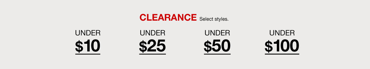 20-70 percent Off, Clearance, Select styles, Women, Men, Home, Shoes, Handbags