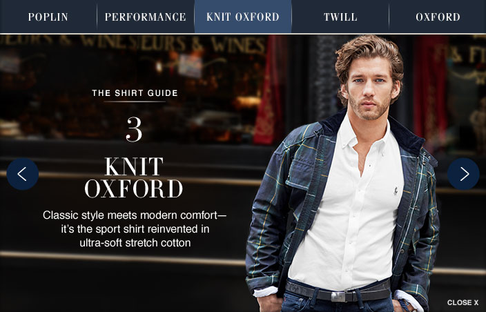 the shirt guide. three. knit oxford. classic style meets modern comfort - it