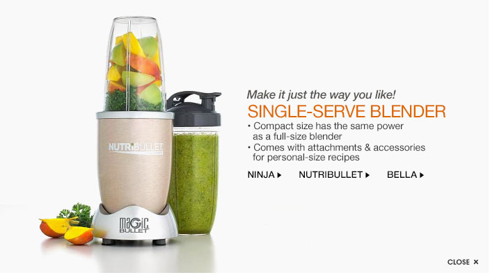 Make it just the way you like! single-serve blender. compact size has the same power as a full-size blender. comes with attachments and accessories for personal-size recipes.