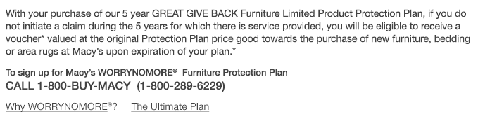... With Your Purchase Of Our 5 Year GREAT GIVE BACK Furniture Limited  Product Protection Plan, ...