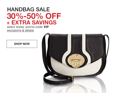 handbag sale, thirty to fifty percent off and extra savings select styles promo code vip