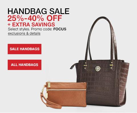 handbag sale twenty five to forty percent off plus extra