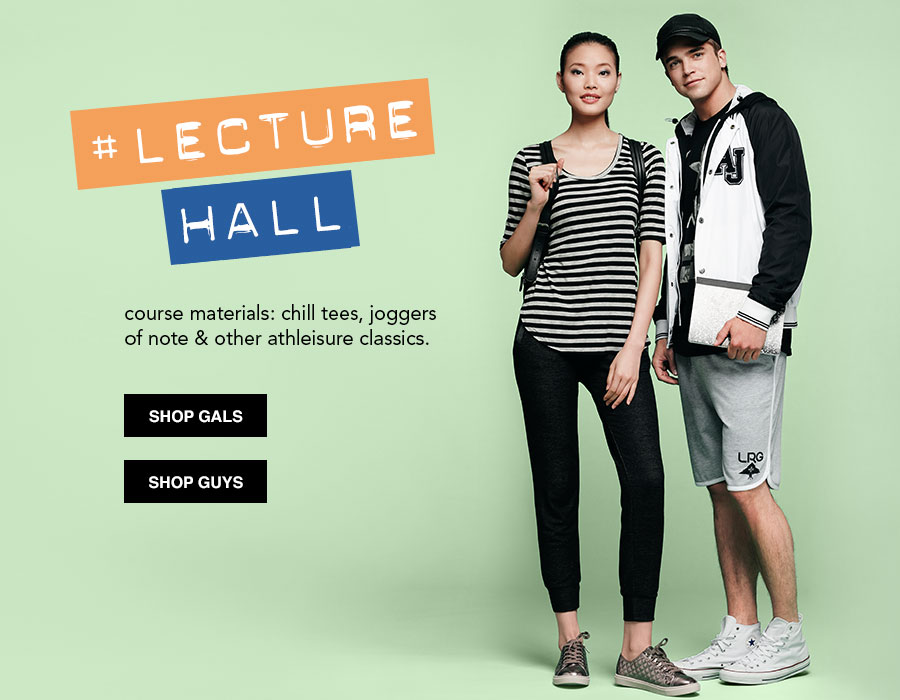 Lecture Hall. course materials: chill tees, joggers of note and other athleisure classics