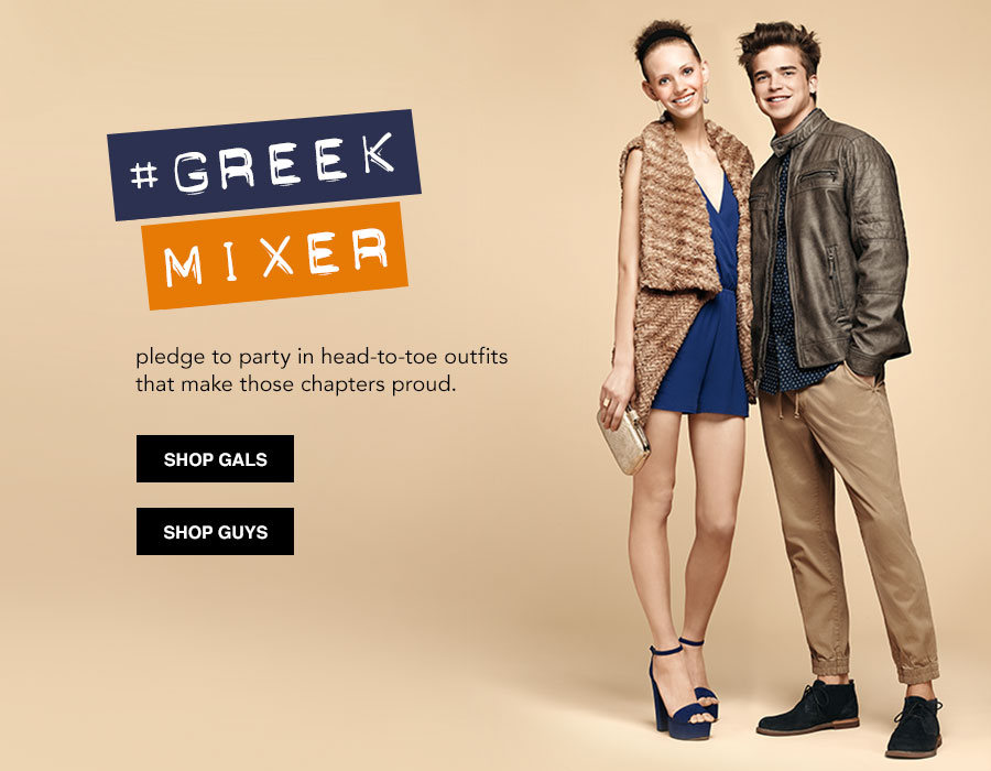Greek Mixer. pledge to party in head-to-toe outfits that make those chapters proud.