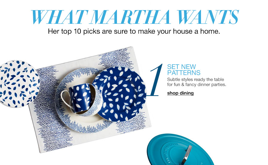 What martha wants - Her top ten picks are sure to make your house a home. One. Set new patterns - Subtle styles ready the table for fun and fancy dinner parties.