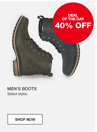 Deal of the day. 40% off Men's boots. Select styles.