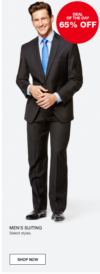 Deal of the day. 65% off Men's suiting. Select styles.