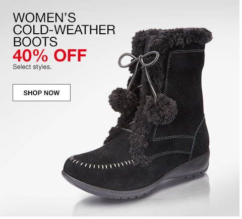 women's cold weather boots. 40% off. Select styles.