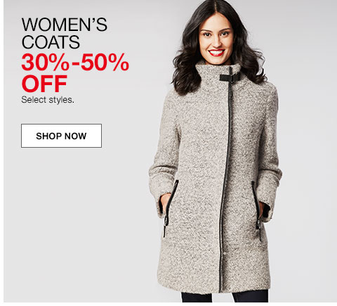 women's coats. 30% to 50% off. Select styles.