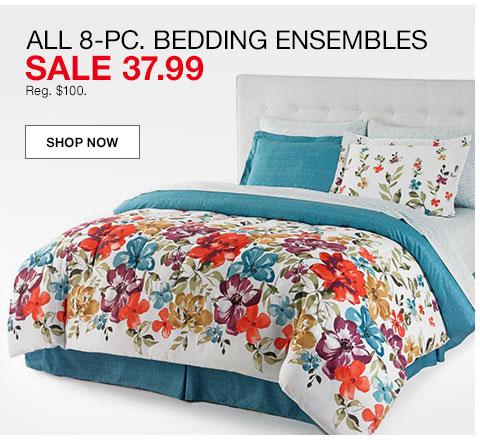 All eight piece bedding ensembles. Sale 37.99. Regularly $100