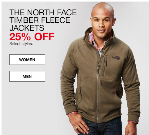 The North Face Timber Fleece Jackets. 25% off. Select styles.