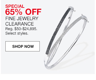 special 65 percent off, fine jewelry clearance, regular $50 to $24,895. select styles.