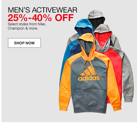 mens activewear, 25 percent to 40 percent off, select styles from nike, champion and more.