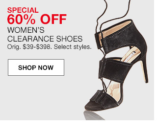 special 60 percent off, womens clearance shoes, original $39 to $398. select styles.