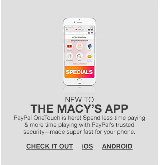 new to the macys app, paypal one touch is here! spend less time paying and more time playing with paypal's trusted security made super fast for your phone.