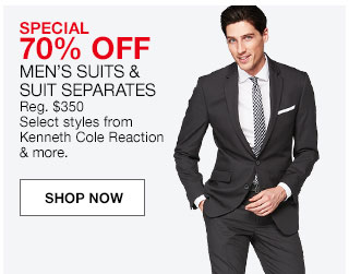Special 70% off men's suits and suit separates. Regular $350. Select styles from Kenneth Cole Reaction and more.