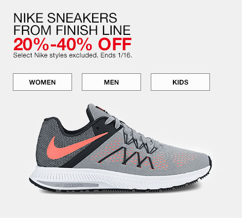 Nike sneakers from finish line. 20% to 40% off. Select Nike styles excluded. Ends 1/16.