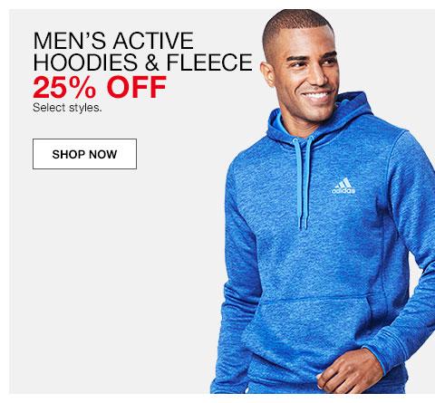 Men's active hoodies and fleece. 25% off. Select styles.