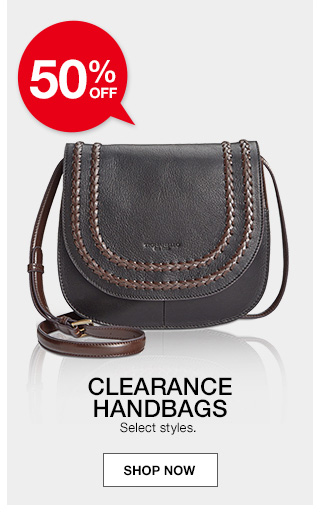 50 percent off clearance handbags. select styles.