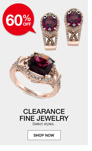 60 percent off clearance fine jewelry. select styles.