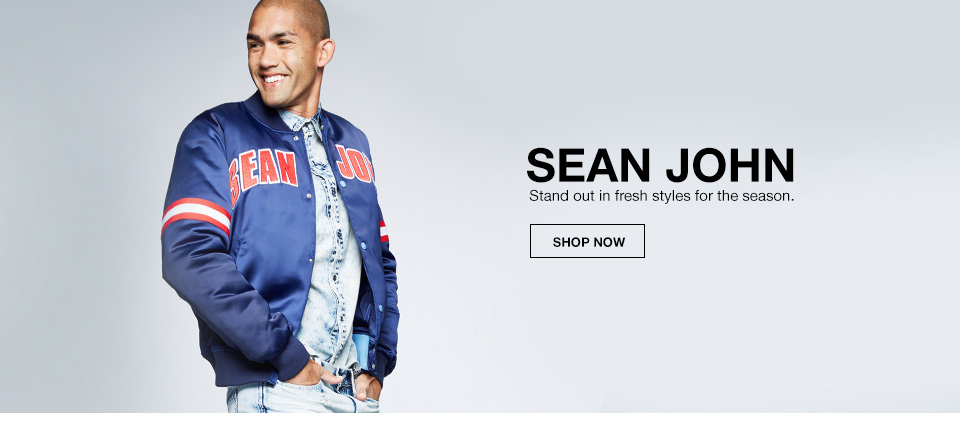 sean john, stand out in fresh styles for the season.
