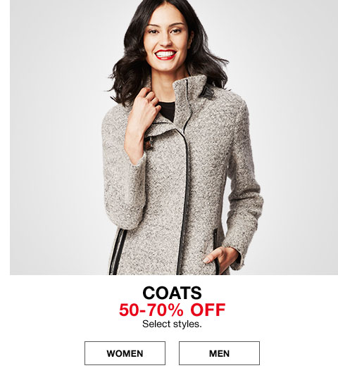 coats 50% -70% off select styles