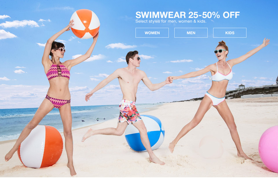 swimwear 25 percent to 50 percent off. select styles for men, women and kids.